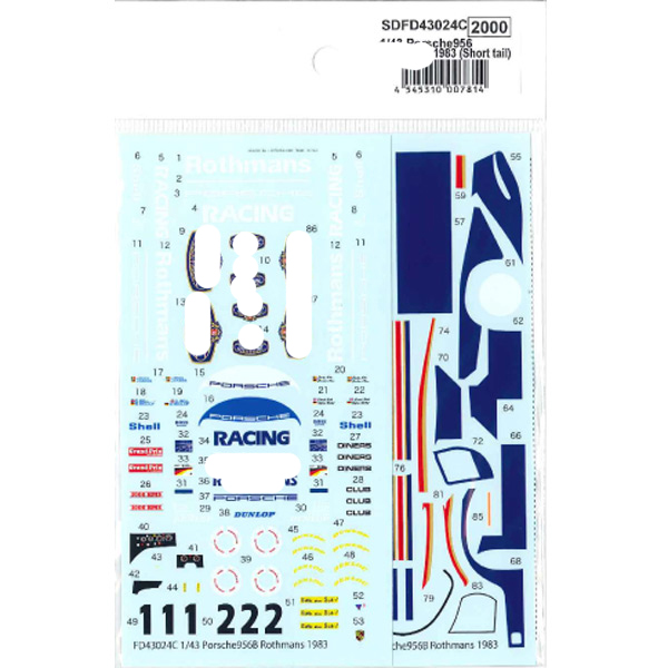 """1/43 956 """"Rothmans"""" 1983 (Short tail) - Spare Decalfor FD43024CSTUDIO27 【Spare Decal】Printed by Cartograf"""